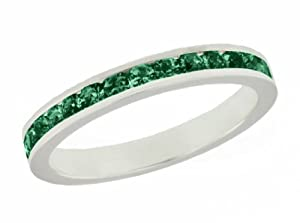 Tuscany Silver Dark Green Crystal Eternity Stacking Ring - Size N