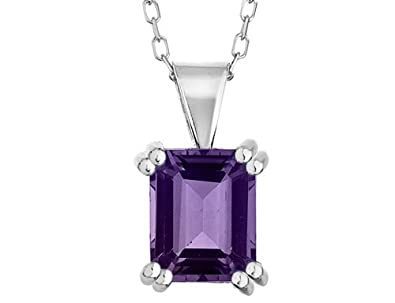 8x6mm Amethyst Pendant Necklace 1.50 Carat (ctw) in Sterling Silver with Chain $15.95