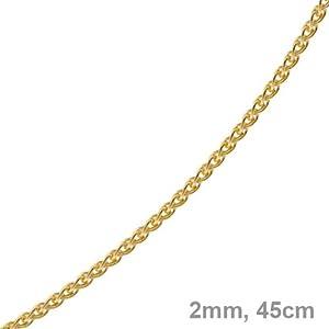 2mm Zopfkette Kette Collier 750 Gold Gelbgold Goldkette 45cm Unisex