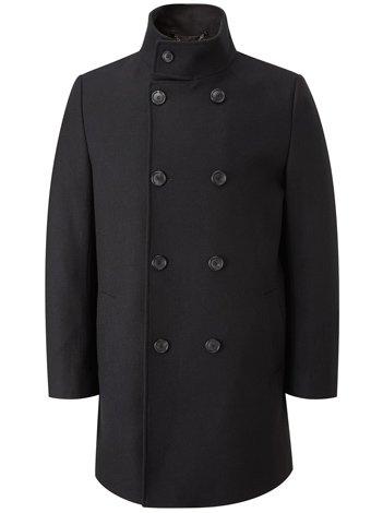 Austin Reed Black Wool Funnel Neck Coat REGULAR MENS 36