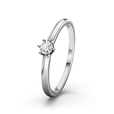 21DIAMONDS Illinois Women's Ring VVS1 0.1 ct Brilliant Cut Diamond Engagement Ring - Silver Engagement Ring