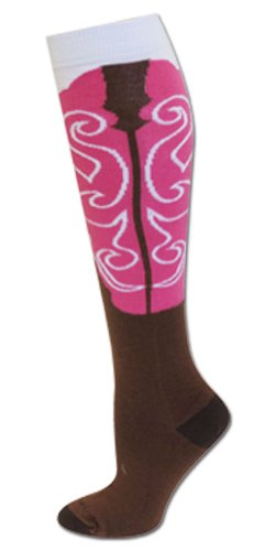 Cowgirl Boot Socks Brown/Pink S/M front-24748