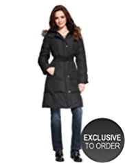 Petite Hooded Down Filled Long Belted Coat with Stormwear™