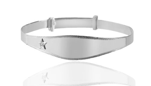 Sterling Silver Diamond Inset New Baby /Christening Bangle. Expandable.