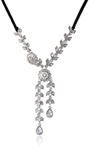 "Betsey Johnson ""Stone & Pearl"" Crystal Flower and Leaves Long Adjustable Tie Necklace, 42"""