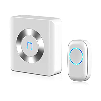 Wireless Doorbell, JETech Portable Wireless DoorBell Chime Plug-in Push Button with LED Indicator Over 50 Chimes, No Batteries Required for the Receiver (White) - 2122