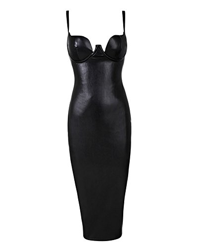 UONBOX Women's Leather Sexy Strap Sleeveless Cocktail Midi Bodycon Dress Black L