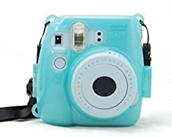 CAIUL Transparent Crystal Instant Camera Case for Fujifilm Instax Mini 8, Blue