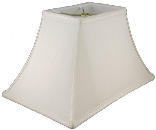 American Pride Lampshade Co. 19-78094218 Rectangle Soft Tailored Lampshade, Shantung, Off-white