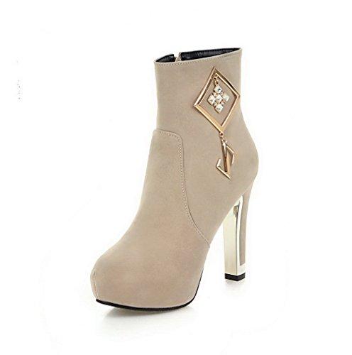 VogueZone009 Donna Punta Tonda Tacco Alto Bassa Altezza Puro Stivali con Metallo, Beige, 33