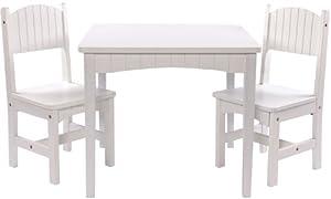 XL Kindersitzgruppe Dion weiss bestehend aus Tisch + 2 Stühle Kindermöbelset Kindermöbel Kindertisch Spielecke  Kundenbewertung und Beschreibung