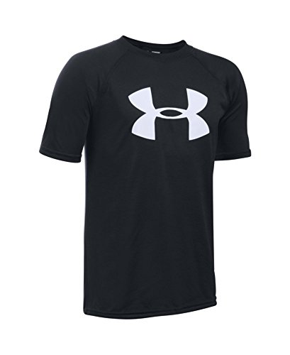 Under Armour Boys' Tech Big Logo Short Sleeve T-Shirt, Black/White, Youth Medium