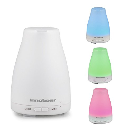 InnoGear® 100ml Aromatherapy Essential Oil Diffuser Light Ultrasonic Cool Mist Aroma Humidifier With Color LED Lights Changing and Waterless Auto Shut-off Fuction for Home Service Bedroom Room