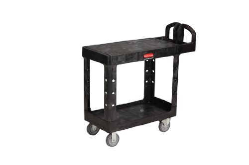 Rubbermaid FG450500 Black 500 lbs Capacity Utility Cart with Two Shelves