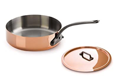 Mauviel M'Heritage Copper 150c 6411.25 3.3-Quart Saute Pan and Lid with Cast Iron Handle