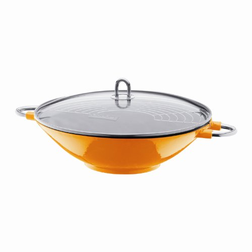 Bodum 14.5 inch/ 37 cm Chambord Enameled Cast Iron Wok with Glass Lid, Orange
