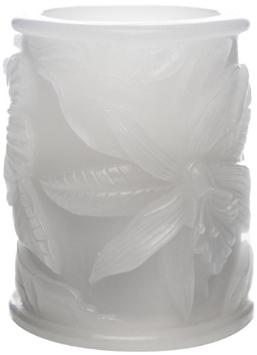 The Amazing Flameless Candle 3 By 4-Inch Tropical Unscented Wax Pillar With 10Mm Led, White