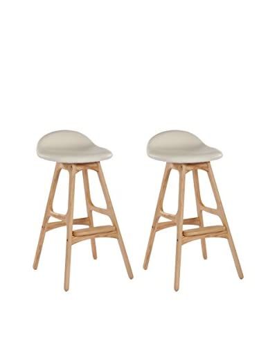 Aeon Euro Home Collection Set of 2 Torbin-2 Bar Stools, Ivory/Ash