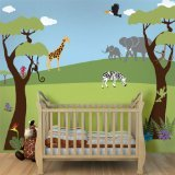 My Wonderful Walls Jungle Wall Stencils for Jungle Theme Wall Mural for Nursery Wall Décor