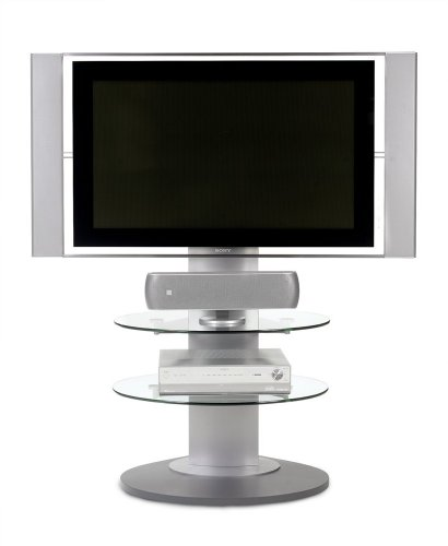 BDI Vista 9960, Flat Panel TV Stand with Glass Shelves - Silver