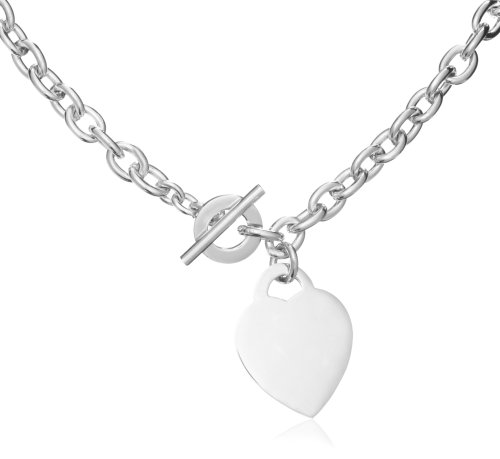 Silver Belcher Large Heart T-Bar 41cm Chain