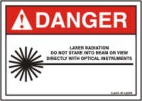DANGER LASER RADIATION DO NOT STARE INTO BEAM OR VIEW DIRECTLY WITH OPTICAL INSTRUMENTS CLASS 3R LASER (W/GRAPHIC) Sign - 10