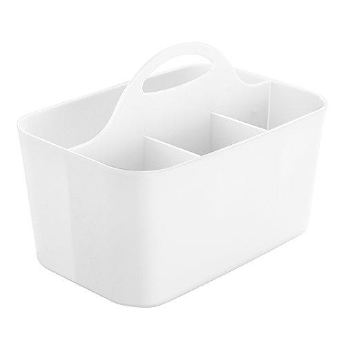InterDesign Clarity Silverware, Flatware Caddy Organizer for Kitchen Countertop Storage, Dining Table - White (Countertop Silverware Caddy compare prices)