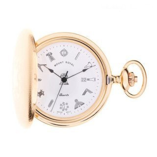 Mount Royal - Masonic Engine Turned Gold Plated Quartz Full Hunter Pocket Watch - G410PQ - (WW1714)
