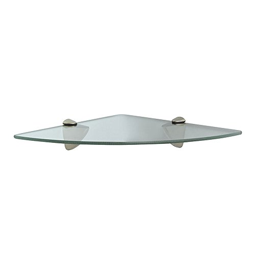 John Sterling KT-0134-1212SN Glass Corner Shelf Kit, Satin Nickel, 12-Inch by 12-Inch