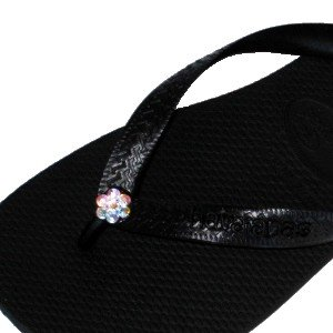 Cheap BLACK CRYSTAL AB FLOWER Swarovski Crystal Havaianas Flip Flops Sandals Thongs sizes 5-11 (B002HFP2AY)
