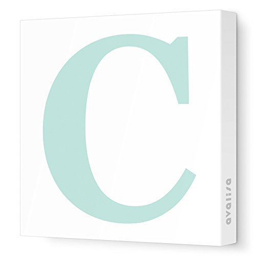 "Avalisa Stretched Canvas Upper Letter C Nursery Wall Art, Aqua, 12"" x 12"" - 1"
