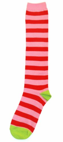 Pink Red Stripe Womens Knee High Sock - Sock It To Me