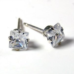 Beautiful 925 Sterling Silver 4mm Ice CZ Cubic Zirconia Princess Cut Square Stud Earrings - Made in the USA