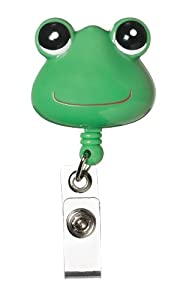 """Rectractable Badge Holder Cord Extends To 23"""" Green Frog Design"""