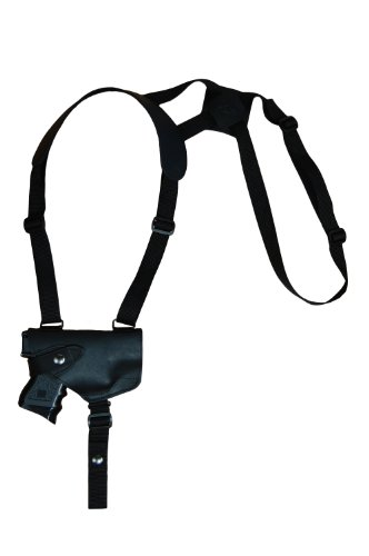 Barsony Black Leather Horizontal Shoulder Holster for Compact Size 9mm 40 45 Pistols from Barsony Holsters and Belts
