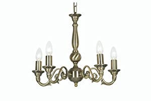Oaks Lighting Amaro Antique Brass Ceiling Fitting with 5 Lights from Oaks Lighting