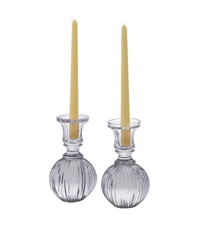 Set of 2 Glass Candleholders