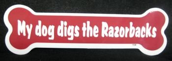 "DOGBONE/ARKANSAS. ARKANSAS RAZORBACKS 2""X7"" DOG BONE SHAPED CAR MAGNET at Amazon.com"