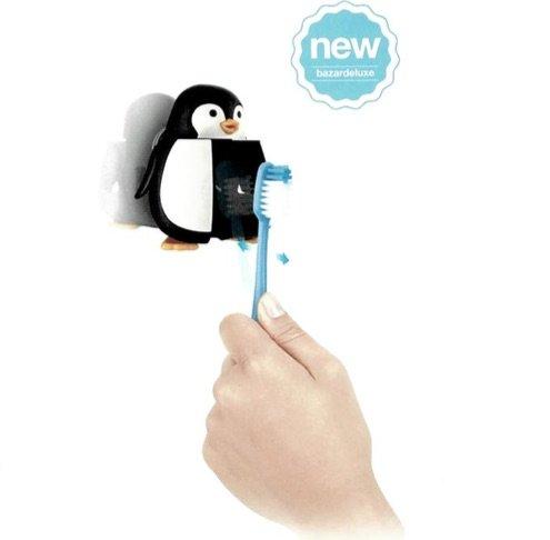 Porte brosse dents mural avec ventouse design pingouin soins implants et assurances dentaires - Porte brosse a dent ventouse ...