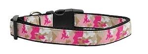 Mirage Pet Products Pink Camo Nylon Collar for Pets, Medium