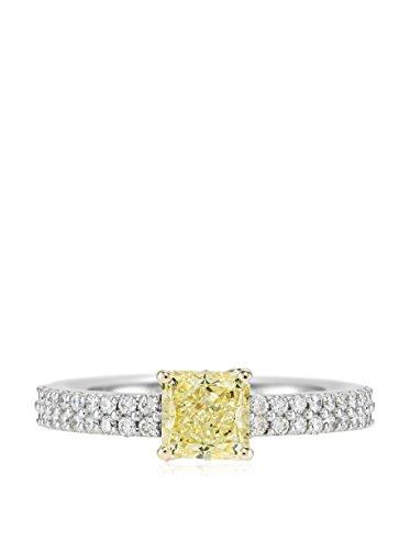 Bouquet 1-1/3 Carat Fancy Yellow Radiant Diamond/18K White Gold Ring