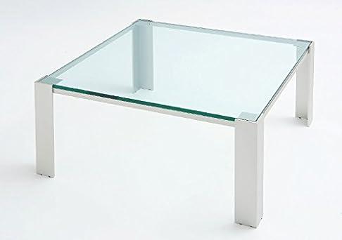 Tavolo da saotto Albireo - Cm 100 x 100 x h.40 - Colore: Verniciato Nero - Piano in vetro - 100% MADE IN ITALY -