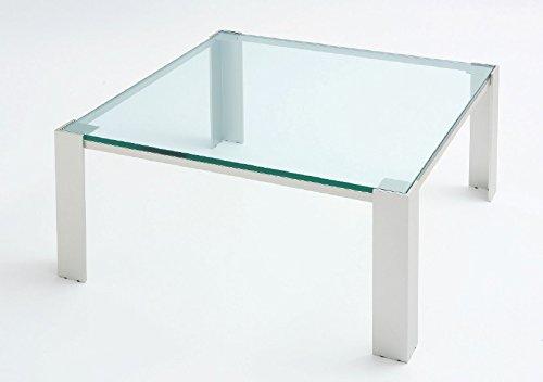 Tavolo da saotto Albireo - Cm 90 x 90 x h.40 - Colore: Verniciato Cromo - Piano in vetro - 100% MADE IN ITALY -