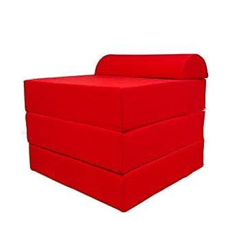 Arketicom Eccezionale Puff Letto SLEEPING CUBE un Pouf che si trasforma in un Comodo Letto Rosso Misure cm 60x60x45(altezza)