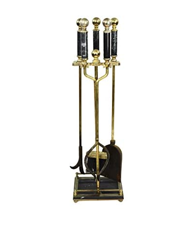 Uptown Down Found 5-Piece Fireplace Tool Set, Gold/Black