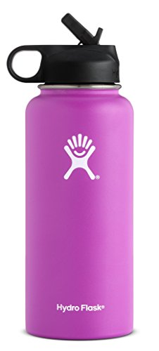 Hydro Flask 40 oz Double Wall Vacuum Insulated Stainless Steel Sports Water Bottle, Wide Mouth with BPA Free Straw Lid, Raspberry