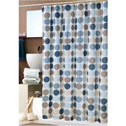 Amazon Bold Blue Circles Fabric Shower Curtain With