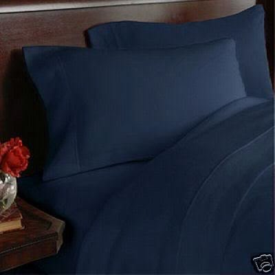 800 Thread Count Egyptian Cotton Attached Waterbed Sheet Set, King, Solid Navy front-1037290