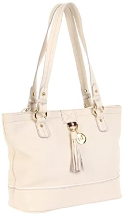 Tommy Hilfiger Tasseled Pebble Small Tote,Winter White,One Size