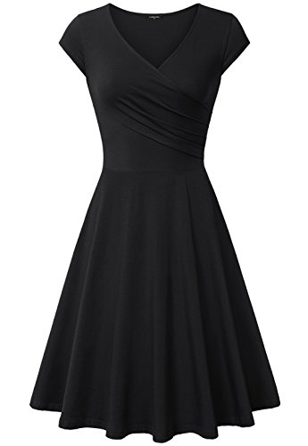Sun Women Dresses Evening,Laksmi Flared Plus Size Midi Dress Sundress,XX-Large All Black